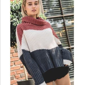 POL Striped Knit Cowl Neck Sweater